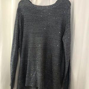 Beautiful Gray Sparkle Sweater W/Fancy Back